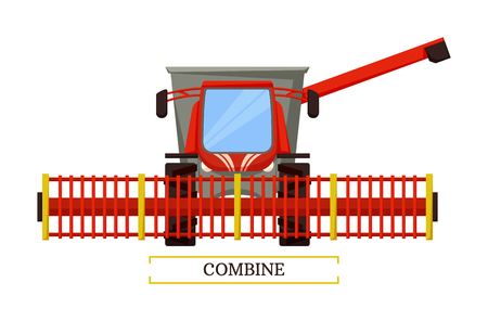 Combine agricultural machine vector isolated icon. Automobile for farming purposes vehicle for seasonal harvesting. Agriculture farm auto machine