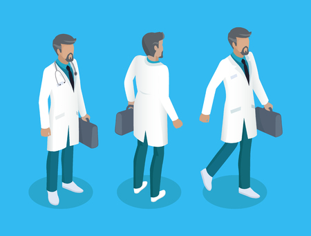 Doctor in uniform, working concept vector icons. Man in white smock with stethoscope on neck, suitcase in hand, from different angles, cartoon badges 일러스트
