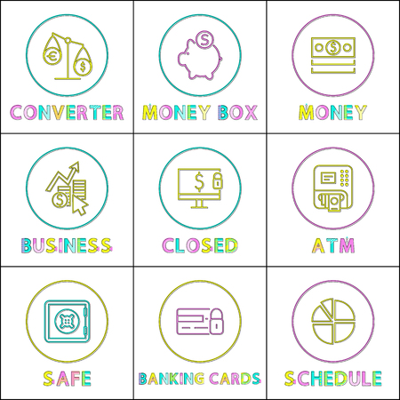 Money box and converter color vector illustration of atm and safe for wealth storage, closed banking cards and account, round statistical schedule 向量圖像