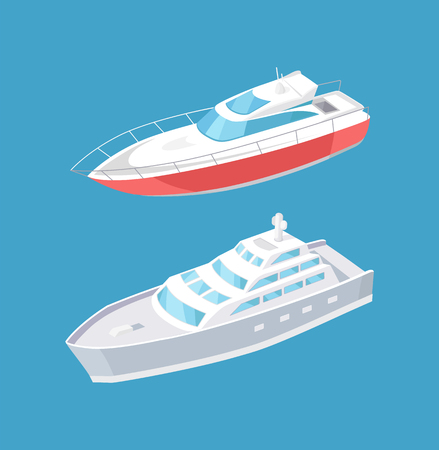 Modern yachts sailing in deep blue waters, steamship cruise nautical craft. Sailboat and passenger liner marine traveling vessels vector icons isolated.