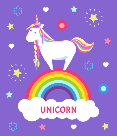 Fantastic fairy tale unicorn with color mane and sharp horn standing on rainbow. Mysterious horse from legends or imagination. Childish animal vector
