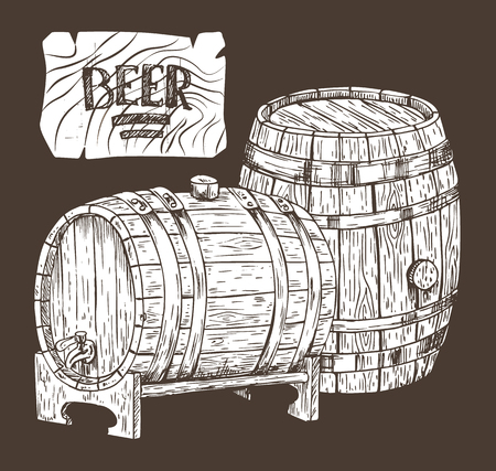 Beer kegs isolated on black backdrop graphic art, vector illustration of two wooden containers for different alcohol storage, oak casks with taps