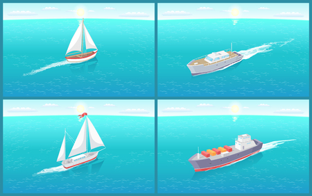 Water transport sailing boat and different ships set vector. Vessels for traveling by sea or oceans on distances. Transportation of people and cargo