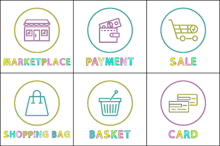 Web commerce linear buttons. Marketplace icon, payment function, sale info, shopping bag, small basket and credit card outline vector illustrations. Vektorgrafik