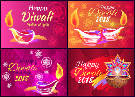 Happy Diwali Festival of Lights 2018 Poster Vector
