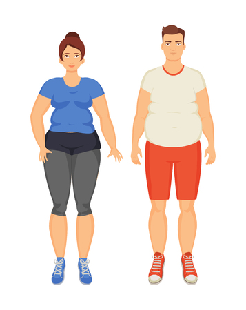 Man and woman unhappy because of obesity, isolated icons set vector. Overweight fat people with cellulite on belly and legs. Obeseness and adiposity Illusztráció