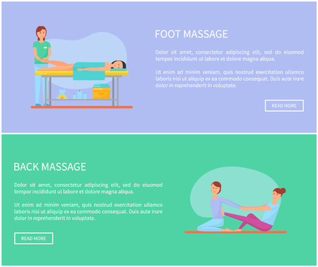 Foot and back massage of body parts by expert masseuses, techniques and methods. Postes set with text sample, relaxing woman on special table vector Illustration