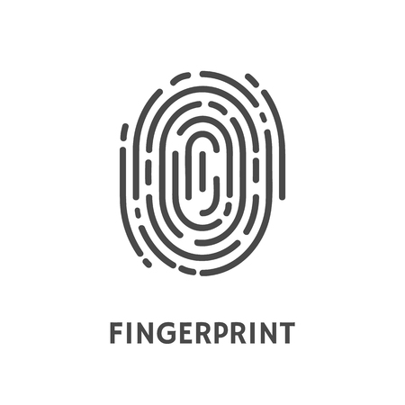 Fingerprint identification and verification of person vector. Thumbprint and text of poster, security system and authorization authentication process 版權商用圖片 - 113118802
