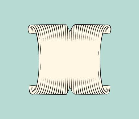 Ribbon Wide Banner Sketch Vector Illustration