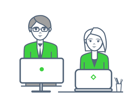 Male and female people working by laptops vector. Workers with computers performing tasks, employees with business ideas at office. Man and woman Ilustrace