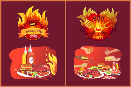 Barbecue Grill Party Emblems in Flame and Food Archivio Fotografico - 113461670