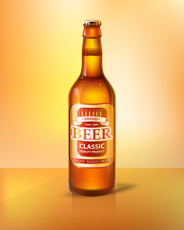 Craft beer in bottle with cap. Low alcohol drink made of hop and barley inside glass container. Label on beverage realistic 3D vector illustration. Illustration