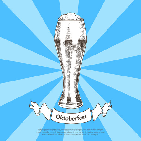 Oktoberfest beer holidays vector illustration, colorful banner isolated striped blue background, graphic image of ale glass with alcohol beverage