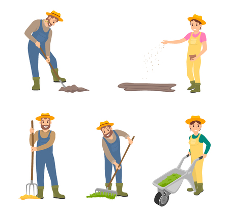 Farming people digging land, sowing seeds set. Isolated icons of man and woman working on ground. Farmer with hayfork and rake, pulling trolley vector