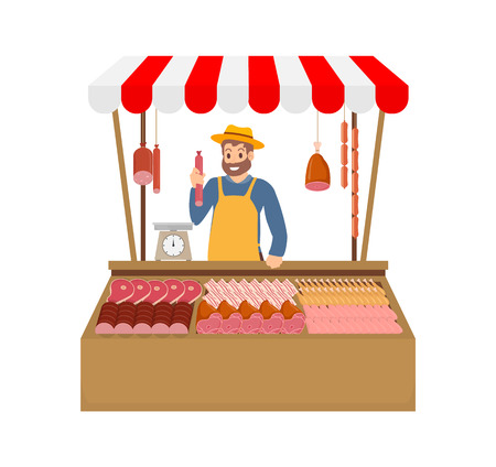 Farmer selling meat products vector. Isolated icon of man with beef pork and chicken production. Sausages and raw steaks, frankfurter in tent kiosk Illustration