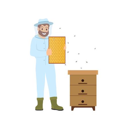 Vector de abejas y persona de agricultura de apicultor. Icono aislado de apicultor con uniforme de protección especial. Apicultor macho de colmena obteniendo miel