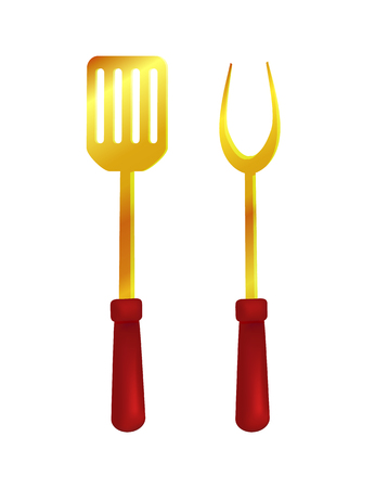 Spatula and Fork Tools Set Vector Illustration