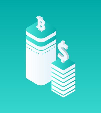 Blockchain Crypto Currency Set Vector Illustration
