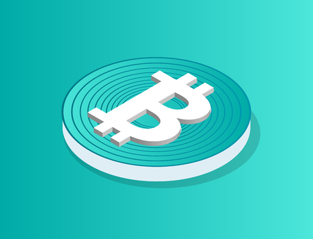 Blockchain icon isolated isometric 3d vector. Coin of cryptocurrency with lines and logotype of current. Financial element digital, virtual money 向量圖像