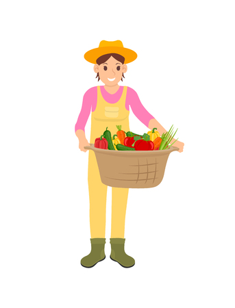 Woman holding basket with veggies isolated icon vector. Pepper and carrot, tomato and lettuce leaves vegetables. Farming and harvesting season work Illustration