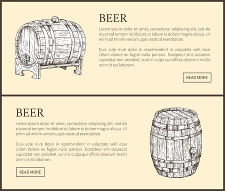 Big Beer Wood Barrel and Small Pin Landing Page Illustration