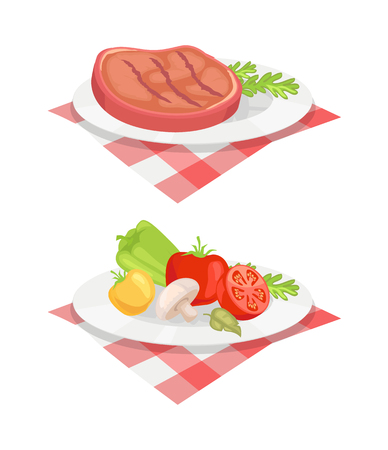 Beefsteak served on plate and cloth isolated icons vector set. Beef roasted barbeque bbq meat with vegetables and herbs. Mushroom tomatoes and pepper