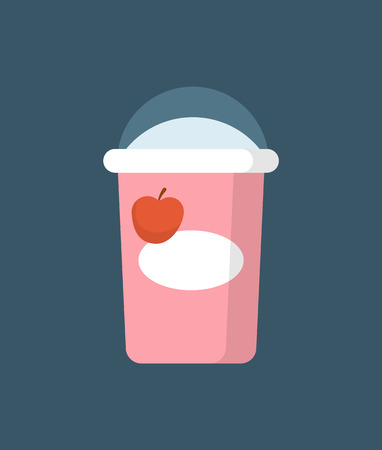 Paper package of yoghurt cartoon style isolated vector icon. Carton pack with transparent plastic cover, natural healthy beverage with cherry flavor