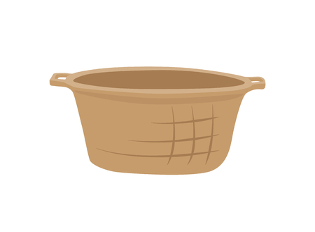 Wicker basket container isolated icon vector. Pannier for fruits and vegetables, rustic item for carrying something inside. Object with handle closeup Illusztráció
