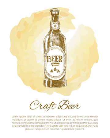 Craft Beer Bottle with Label Monochrome Sketch Çizim