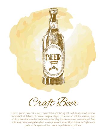 Craft Beer Bottle with Label Monochrome Sketch Illustration