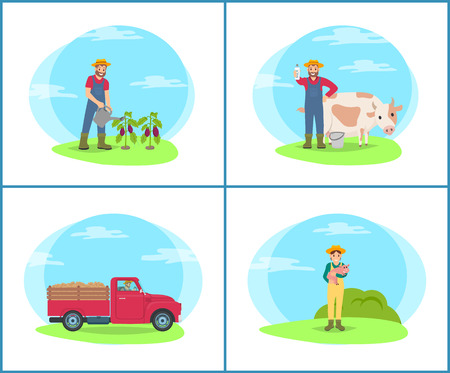 Farming people at plantation set vector. Farmer with cow cattle livestock on field, lorry transporting harvested potatoes in trailer. Woman and piglet