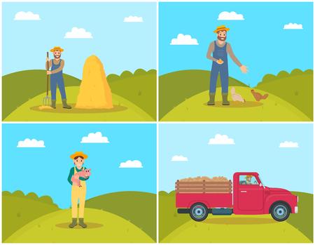 Farmer Feeding Chickens Set Vector Illustration