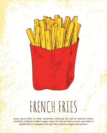 French Fries in Red Package Colorful Vector Card