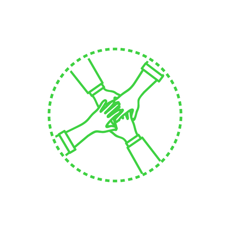 Collaboration Hands Teamwork Rounded Icon Vector