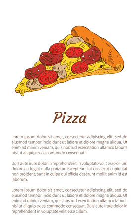 Pizza Piece Colorful Illustration with Text Sample