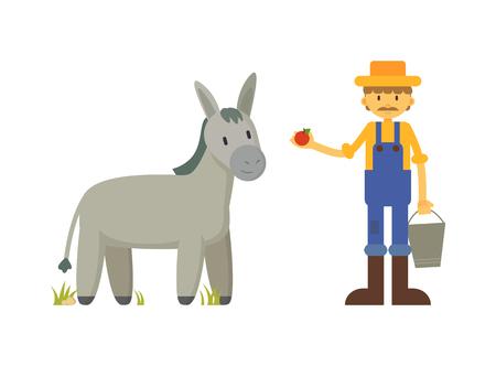 Farmer Feeding Donkey with Apple Illustration