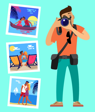 Cameraman and his works pictures of merry couples resting on beach. Happy lovers at sunset, hugging at coastline, meeting sunrise in boat swimming at river Stok Fotoğraf - 113121938