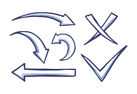Arrows and pointers, checkmark and cross for voting and leaving choices vector. Swirl arrowheads and indicators, cursor design isolated icons set
