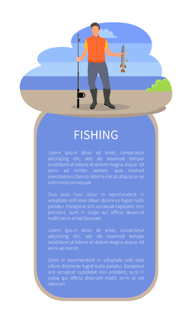 Fisherman with fishing rod and fish vector illustration. Fisher with just caught trout isolated on blue with clouds silhouette sketch, sport theme Ilustrace