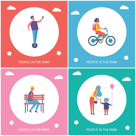 People having fun and resting in park cartoon style vector banner set. Children riding bike and on unicycle and guy sitting on bench, outdoor leisure