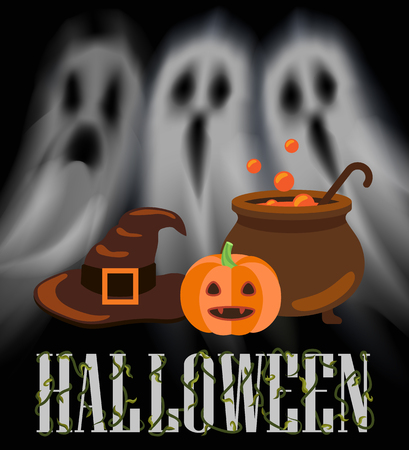 Halloween ghosts and apparitions poster with night haunting creatures vector. Pot with brewing potion, poison and pumpkin with cap, old hat of witch  イラスト・ベクター素材