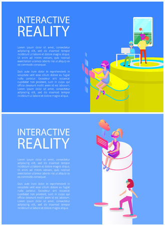 Interactive reality, posters with innovative technology and gaming activities. Man playing table tennis on big screen. Woman downloading files vector Banque d'images - 127190662