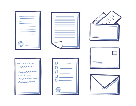 Office Papers Envelopes and Folders Isolated Icons