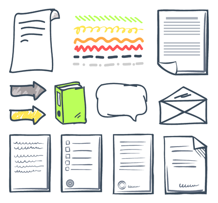 Office paper document and thought bubbles isolated icons set vector. Envelope and pages with signatures of people. Arrows and book letter and pointer Illusztráció