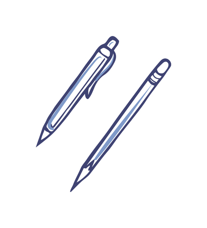 Pen with Ink and Sharp Pencil for Writing Vector Illustration