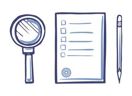 Magnifying Glass, Office Paper Icon, Sharp Pencil Illustration