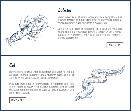 Marine Creatures Lobster and Eel Landing Page Çizim
