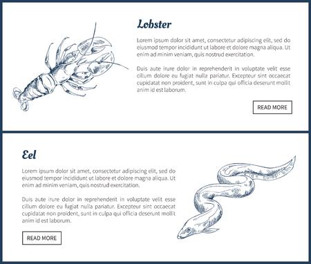 Page de débarquement de homard et d'anguille de créatures marines