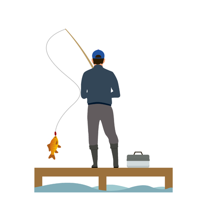 Wooden placing and fisher catching a fish banner, isolated on white background vector illustration, fishing hobby, rod with take and case with tackle