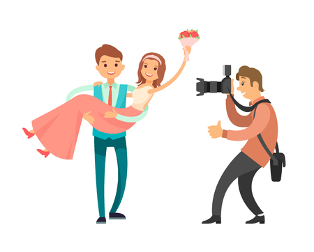 Family photographer making photos of just married couple vector isolated on white. Photo reporter takes pictures of groom holiding pretty bride on hands Иллюстрация